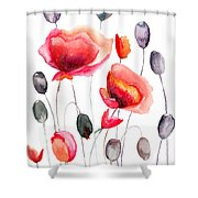 Stylized Poppy Flowers Illustration  Shower Curtain