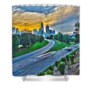 Sun Setting Over Charlotte North Carolina A Major Metropolitan C Shower Curtain