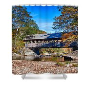 Sunday River Covered Bridge Shower Curtain