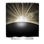 Sunrise Sunset Planet Shower Curtain