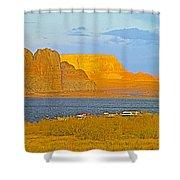 Sunset Glow Over Wahweap Bay In Lake Powell In Glen Canyon National Recreation Area-arizona Shower Curtain