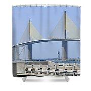 Sunshine Skyway Bridge I Tampa Bay Florida Usa Shower Curtain