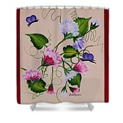 Sweet Peas And Butterflies Shower Curtain