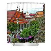 Temple Of The Dawn-wat Arun In Bangkok-thailand Shower Curtain