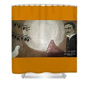 Tesla And White Dove Shower Curtain