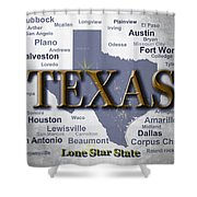 Texas State Pride Map Silhouette  Shower Curtain