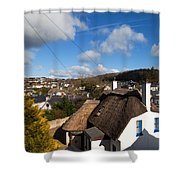 Thatched Cottages Near Dunmore Strand Shower Curtain