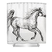 The Arabian Mare Running  Shower Curtain