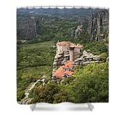 The Holy Monastery Of Rousanou Meteora Greece  Shower Curtain