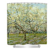The White Orchard Shower Curtain