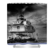 Thomas Point Shoal Lighthouse Black And White Shower Curtain