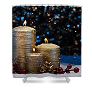 Three Gold Candles In Snow  Shower Curtain