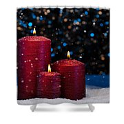 Three Red Candles In Snow  Shower Curtain