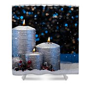Three Silver Candles In Snow  Shower Curtain