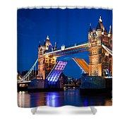 Tower Bridge In London Uk At Night Shower Curtain