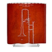 Trombone Patent From 1902 - Red Shower Curtain