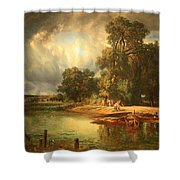 Troyon's The Approaching Storm Shower Curtain