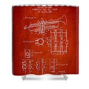 Trumpet Patent From 1939 - Red Shower Curtain