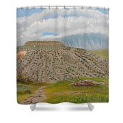 Tucumcari Mountain Reflections On Route 66 Shower Curtain