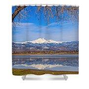Twin Peaks Longs And Meeker Lake Reflection Shower Curtain