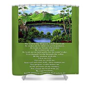 Twin Ponds And 23 Psalm On Green Shower Curtain