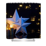 Two Stars With Gold Candles Shower Curtain