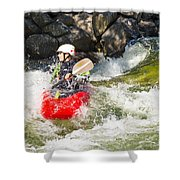Two Whitewater Kayaks Shower Curtain
