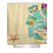 Vacation Postcards Shower Curtain by Amanda Elwell