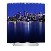 Vancouver Skyline At Night, British Shower Curtain