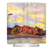 View Of Goat Island From Clackamette Park Shower Curtain