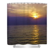 View Of Sunset Through Clouds Shower Curtain