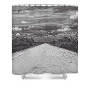 Wagon Wheel Road Bw Shower Curtain