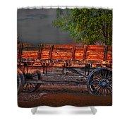 Wagons East Shower Curtain by Gunter Nezhoda