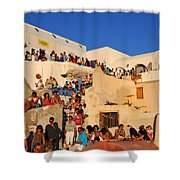 Waiting For The Sunset In Oia Town Shower Curtain