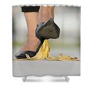 Walking On Banana Peel Shower Curtain