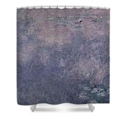 Waterlilies Two Weeping Willows Shower Curtain by Claude Monet