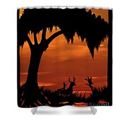 Wetland Wildlife - Sunset Sky Shower Curtain