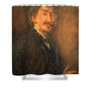 Whistler's Brown And Gold Self Portrait Shower Curtain