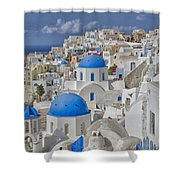 White Buildings With Steep Slope Shower Curtain