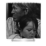 White Mountain Apache Elder And Granddaughter Rodeo White River Arizona 1970 Shower Curtain