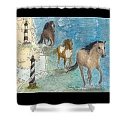 Wild Mustang Horses Outer Banks Lighthouses Nautical Chart Map Art Shower Curtain