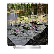 Wild Water Lilies In The River Shower Curtain