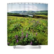 Wildflowers In A Field, Columbia River Shower Curtain