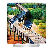 Winding Path In Blue Bloom Shower Curtain