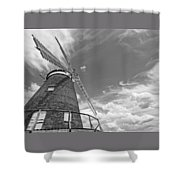 Windmill In The Sky In Black And White Shower Curtain