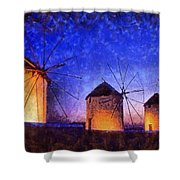 Windmills In Mykonos Island Shower Curtain