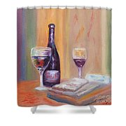 Wine And Blue Cheese Shower Curtain