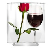 Wine With Red Rose Shower Curtain
