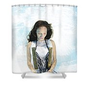 Woman Floats Underwater  Shower Curtain