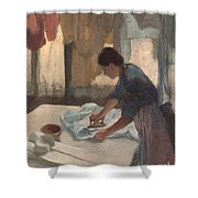 Woman Ironing Shower Curtain